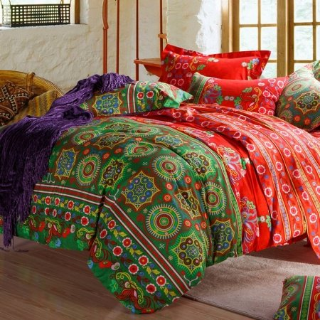 Lime Green and Red Floral and Indian Tribal Print Luxury Cotton Full, Queen Size Bedding Sets