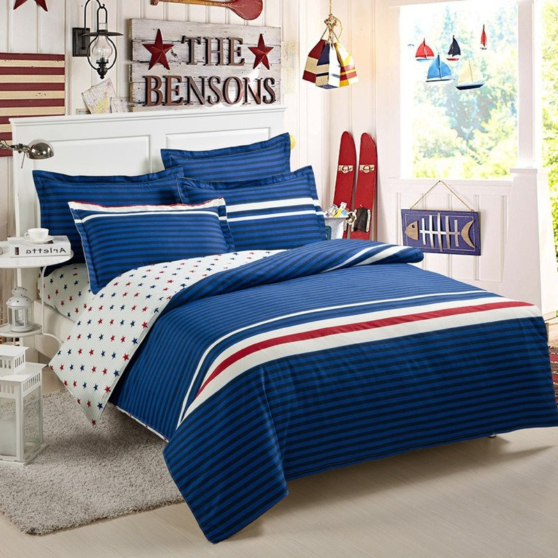 Navy Blue and White Pinstripe Print Polka Dot Design College Dorm Girls and Boys 100% Cotton Full, Queen Size Bedding Sets