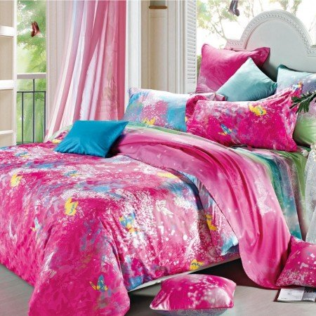 Red and Blue Chinese Inspired Vintage Flower 100% Cotton Full, Queen Size Bedding Sets