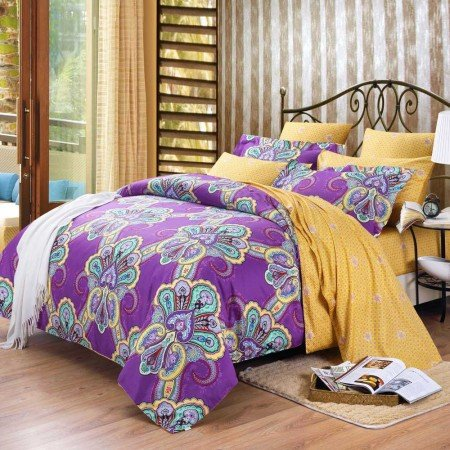 Purple and Yellow Bohemian(BOHO) Chic Western Paisley Print 100% Cotton Satin Full, Queen Size Bedding Sets