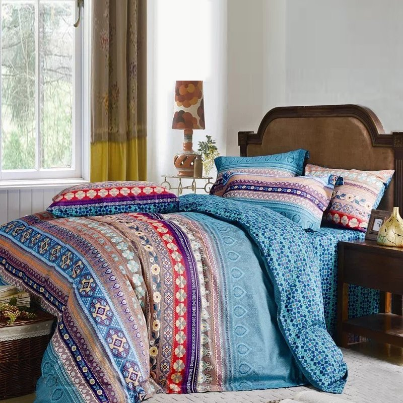 Aqua Blue Purple and Brown Retro Chic Unique Indian Tribal Pattern Full, Queen Size Bedding Sets