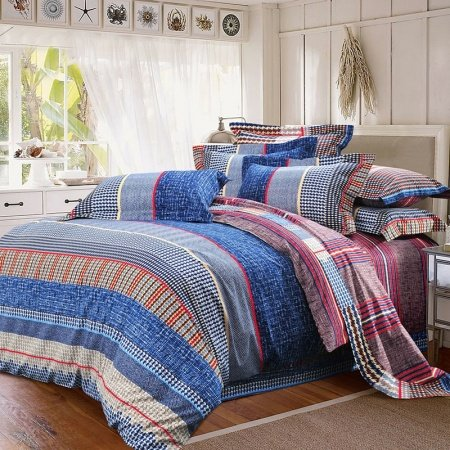 Navy Blue Red and White Plaid and Houndstooth Pinstripe Print College Dorm European Style Full, Queen Size 100% Cotton Bedding Sets