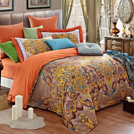 Light Tan Orange and Gold Indian Tribal Pattern and Paisley Park Print Luxury Embroidered Design Adult Full Size Bedding Sets