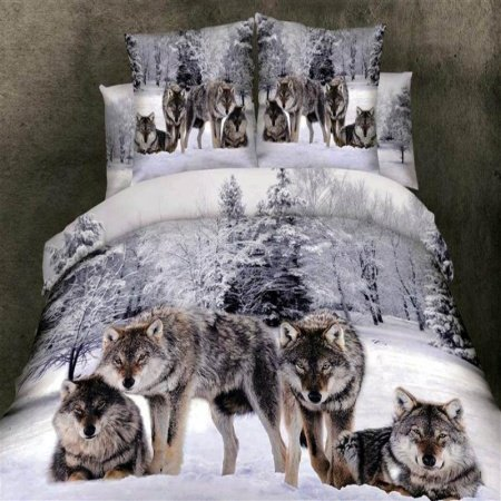 Grey White and Brown Wild Animal Wolf Print on Snow Scene in Forest 3D Design Full Size Bedding Sets