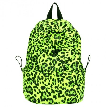 Fluorescent Green and Yellow Leopard Print Polyester Waterproof Bucket-shaped Backpack Casual Women 10 Inch Laptop Bag
