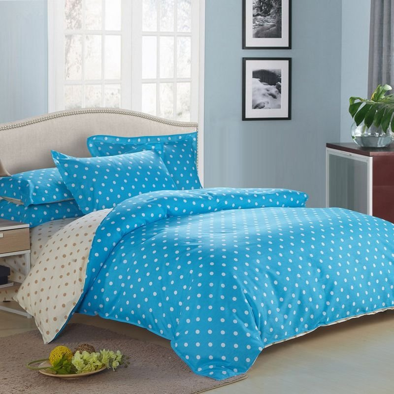 Ocean Blue and Beige Traditional Polka Dots Fashion and Cute Personalized Girls and Boys 100% Cotton Full, Queen Size Bedding Sets