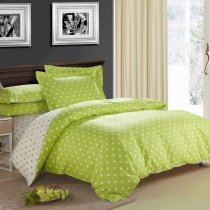 Lime Green and Beige Fashion Polka Dots Cute Style Abstract Personalized Teen Girls and Boys 100% Cotton Full, Queen Size Bedding Sets