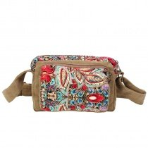 Khaki Brown Red and Blue Retro Persian National Style Boutique Floral Print Casual Party Women Small Box Shaped Canvas Crossbody Evening Bag