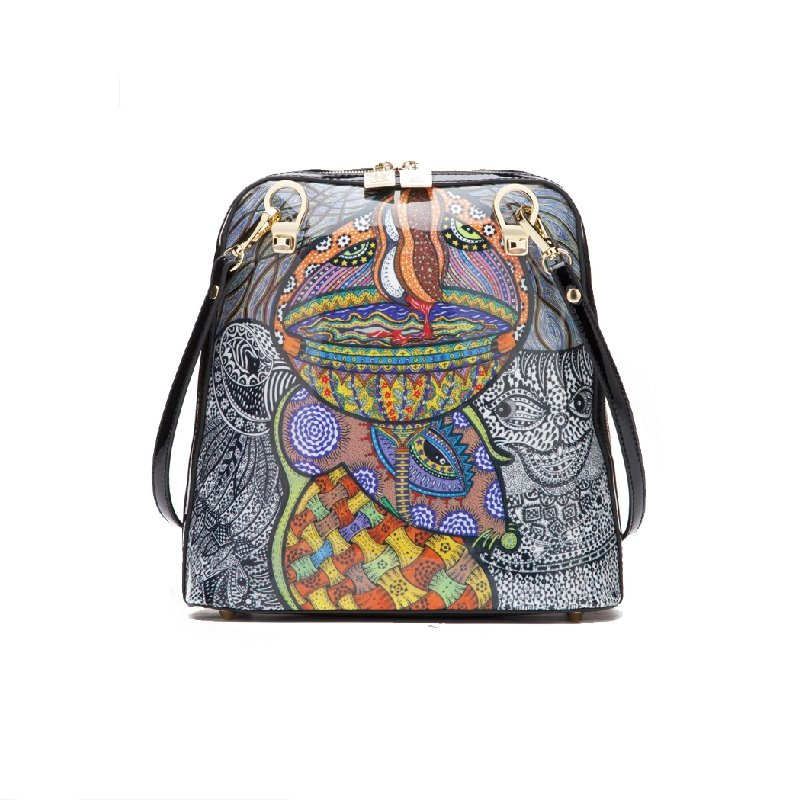 Grey Orange and Blue Personalized Cartoon Print Preppy Style Girl Satchel Backpack Gorgeous Amazing Bohemian Gypsy Mitoshop Small Travel Bag