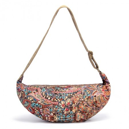 Khaki Brown Red and Blue Mediterranean Tribal Vintage Floral Print Casual Canvas Women Large Crescent Shaped Hobo Bag Crossbody Evening Bag