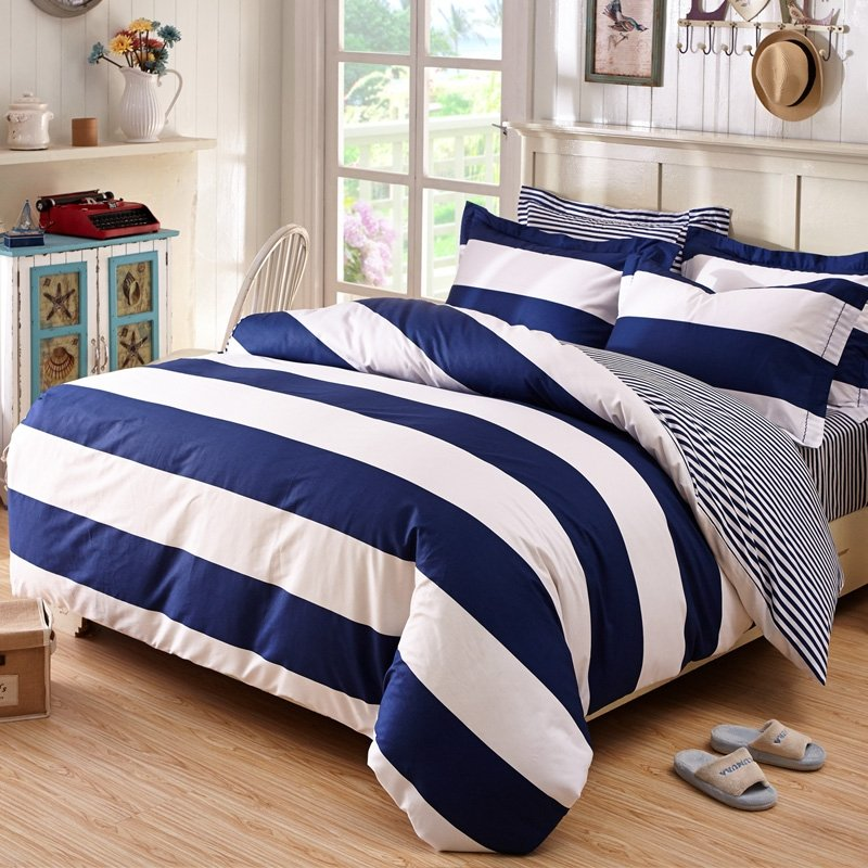 Blue Beige White Striped Boys Bedding Bed Linen Or: Deep Blue And White Boys Rugby Stripe Print Simply Chic