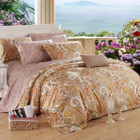 Burnt Orange Camel and Puce Western Paisley Park Vintage Bohemian Style Luxury 100% Egyptian Cotton Full, Queen Size Bedding Sets