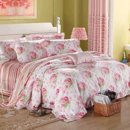Peach Pink and White Bright Flower Print and Pinstripe Luxury Asian Inspired Oriental Style 100% Egyptian Cotton Full, Queen Size Bedding Sets