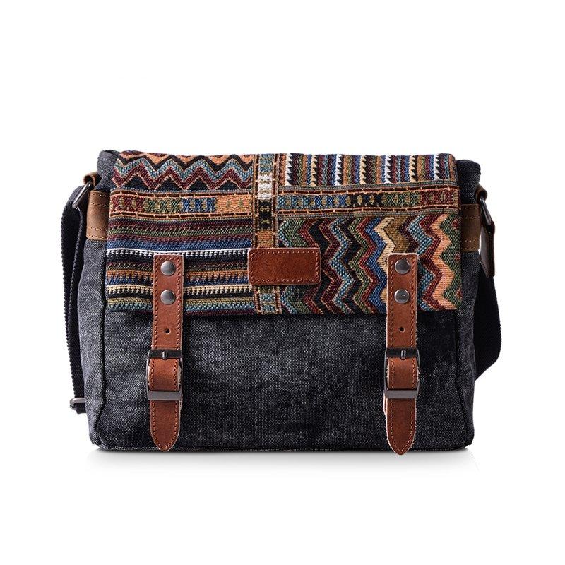 Dark Gray Canvas 10 inch Retro Bohemian Chic Moroccan Style Aztec Stripe Crossbody Single Shoulder Bag