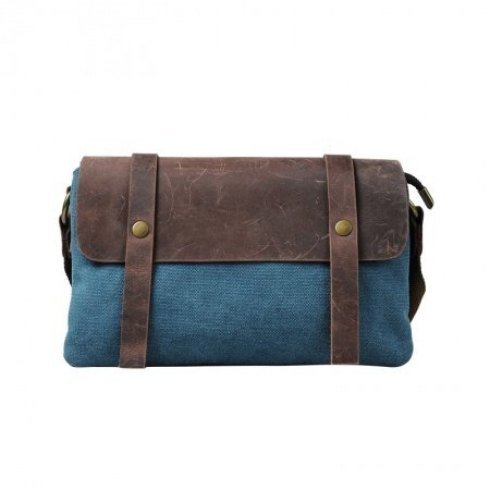 Cobalt Blue and Brown Canvas Leather Evening Clutch Luxury Retro Style Casual Contracted Party Zipper Women Small Single Shoulder Tote Bag