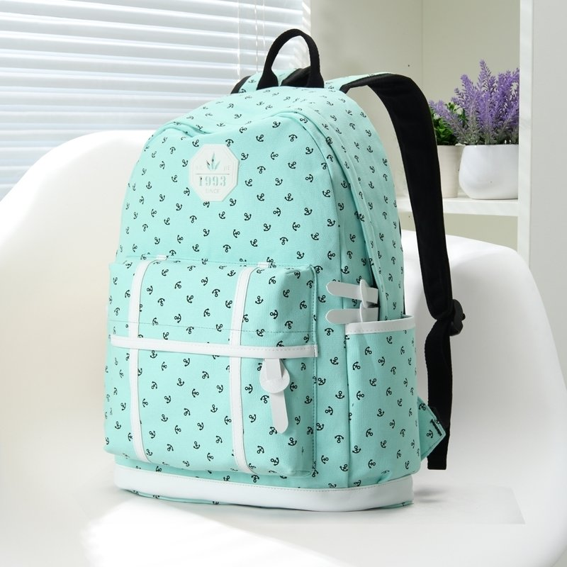 Turquoise Green Canvas with White Leather Trim Anchor Print Cute Girls School Backpack Vogue Sewing Pattern Women 14 Inch Laptop Bag