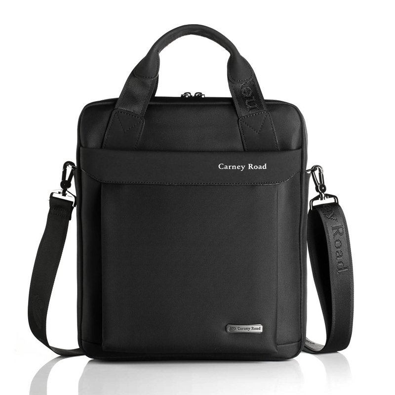 Solid Black Luxury Durable Canvas Briefcase Purse Simply Vogue Boutique Casual Business Sewing Pattern Men Shoulder Crossbody Tote Bag