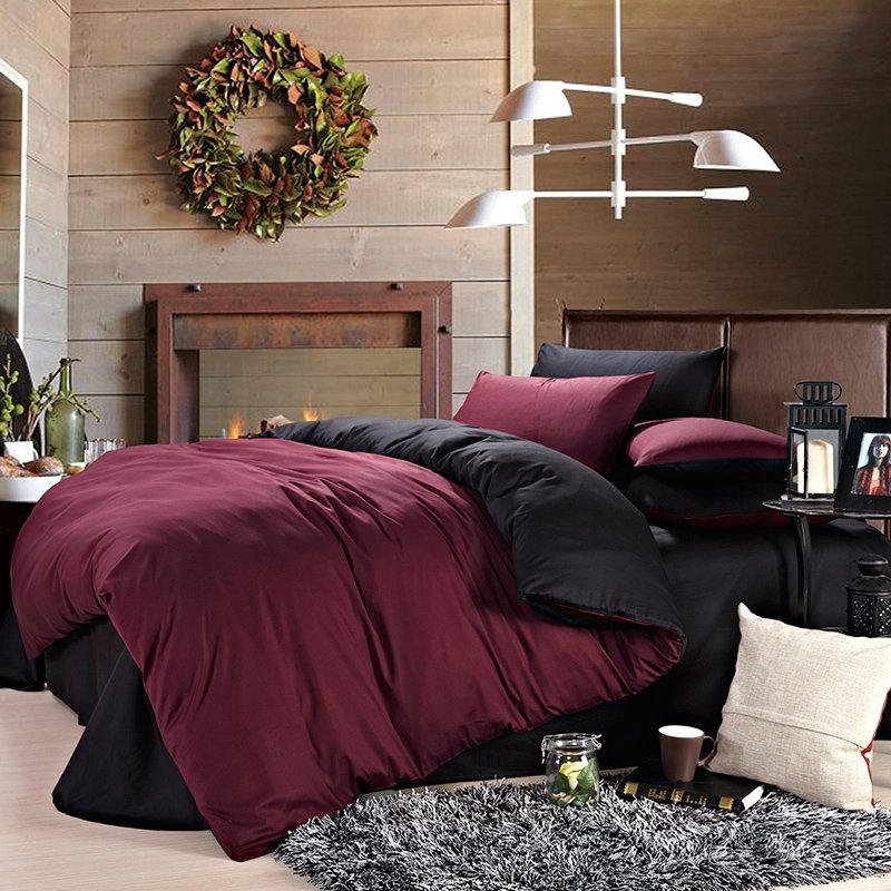 Black and Claret Red Solid Color Shabby Chic European Style 100% Cotton Damask Microfiber Percale Fabric Full, Queen Size Bedding Sets