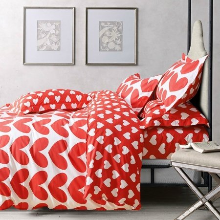 Vermilion and White Sweet Love Heart Print Abstract Design Romantic Unique 100% Cotton Girls Full, Queen Size Bedding Sets