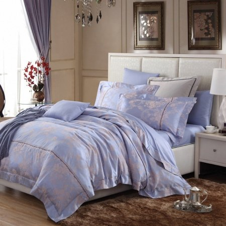 Steel Blue and Grey Flower Pattern Rustic Country Retro Style Luxury Linens Jacquard Design Percale Full, Queen Size Bedding Sets