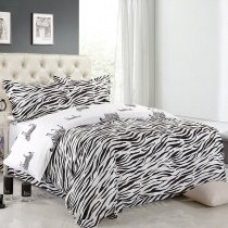 Boys Black and White Zebra Print African Safari Themed Hipster Style Shabby Chic Unique 100% Polyester Full, Queen Size Bedding Sets