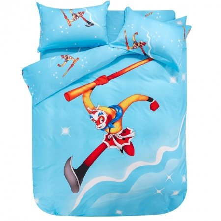 Sky Blue Red and Orange Monkey King Chinese Story Oriental Mythology 100% Cotton Twin, Full, Queen Size Bedding Sets for Boys