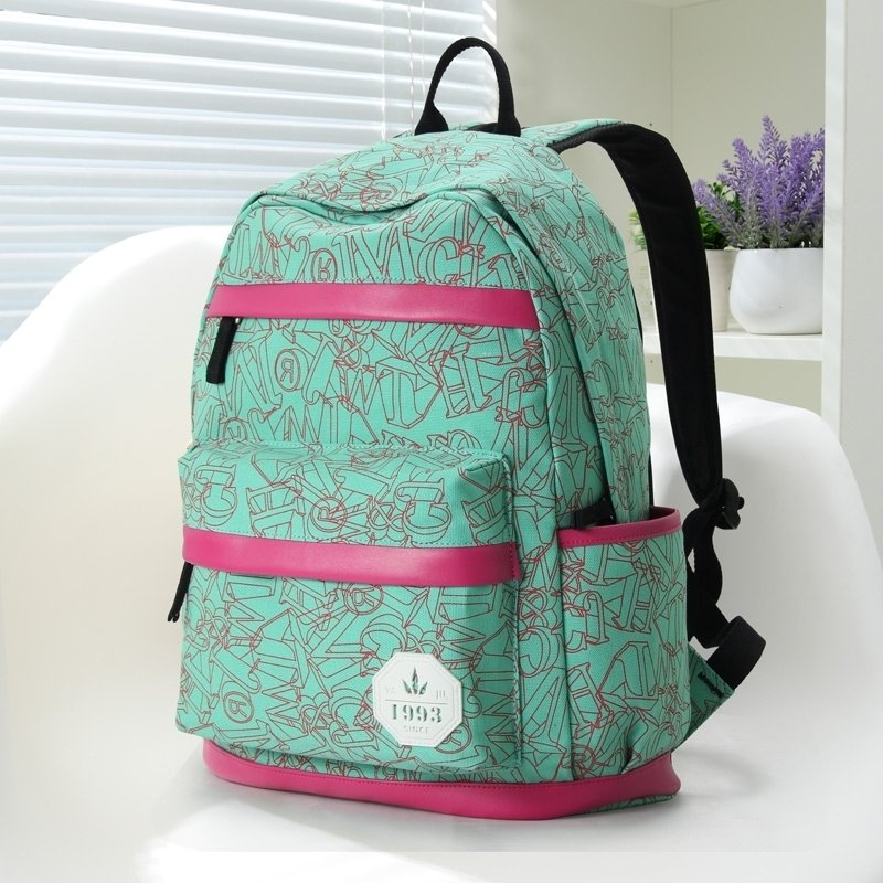 Durable Emerald Green Canvas with Ruby Red Leather Trim Boutique Girls School Backpack Vogue Monogrammed Printed Women Travel Bag