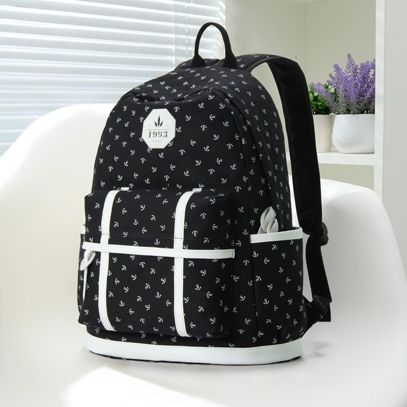 Dark Blue Canvas Owl Print Rucksack Back Pack School Bag with Faux Leather Trim