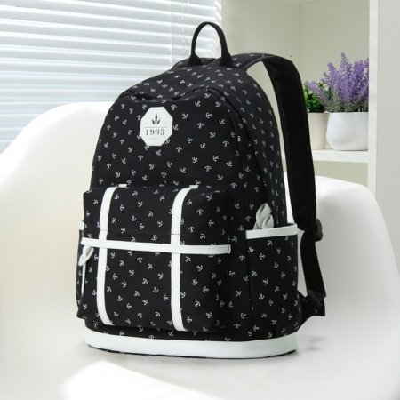 Black Canvas with White Leather Trim Nautical Themed Anchor Printed Girls School Backpack Modern Elegant Sewing Pattern Travel Bag