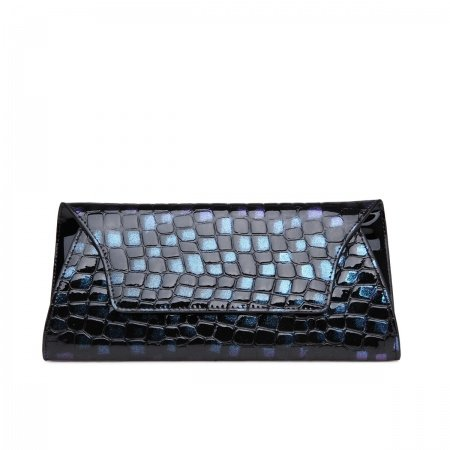 Turquoise Black Cowhide Leather Evening Clutch Luxury Embossed Alligator Casual Party Women Sewing Pattern Envelope Flap Bag