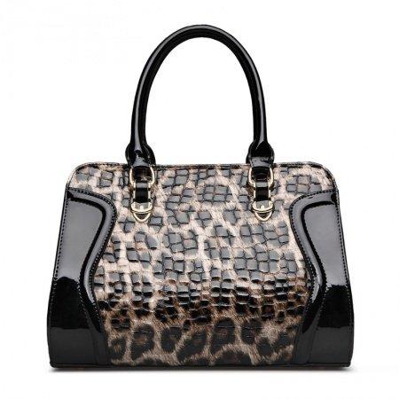 Khaki Brown Black Cowhide Genuine Leather Leopard Print Crossbody Shoulder Purse Embossed Alligator Quilted Women Tote Bag