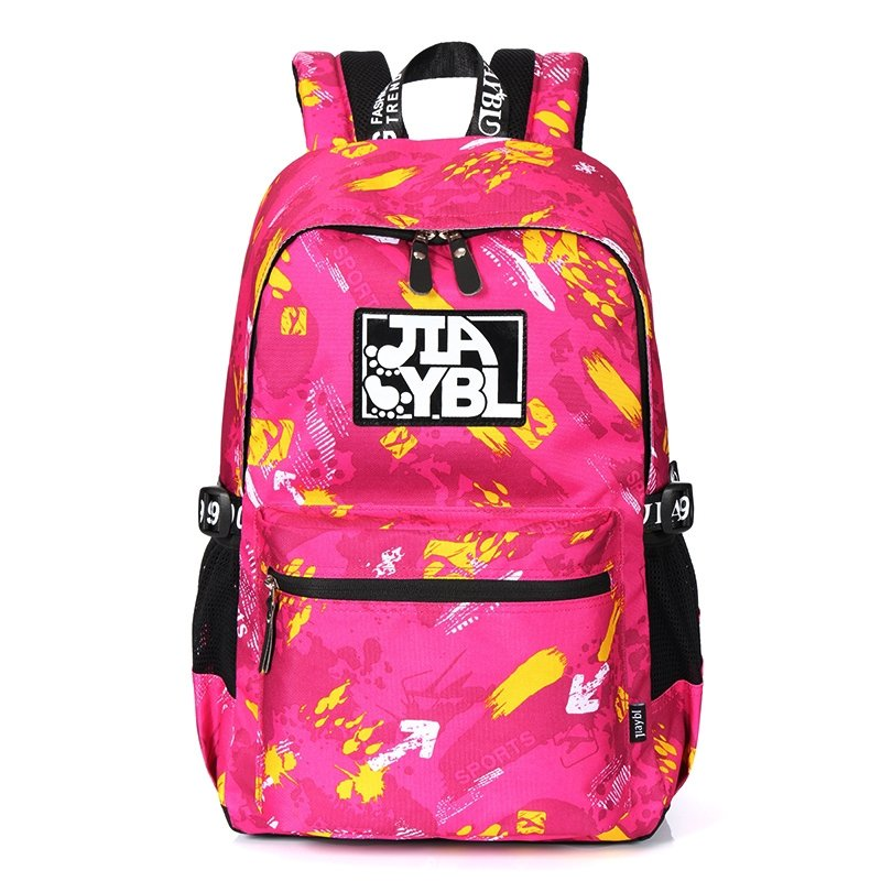 Stylish Durable Oxford Casual Travel Backpack Magenta Red Yellow Paint Splatter Contracted Trendy Preppy Style Junior School Bag