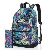 Stylish Durable Oxford Sewing Pattern Girls School Backpack Colorful Tropical Hawaiian Floral Print Zipper Casual Travel Bag