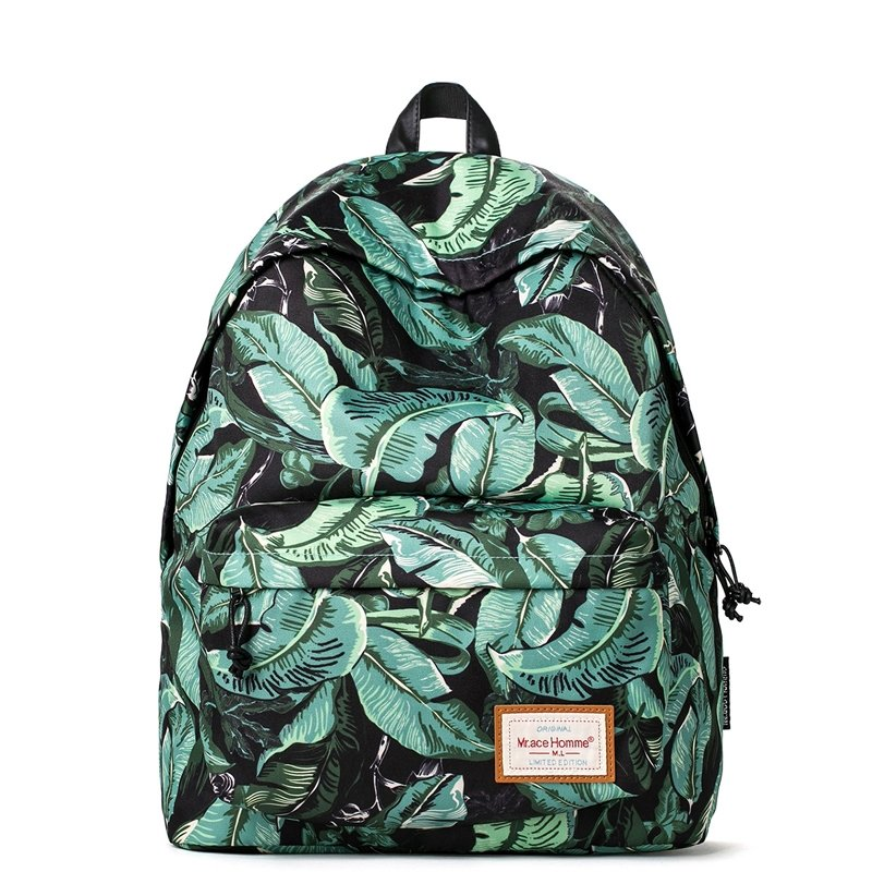 Durable Polyester Stylish Vintage Travel Backpack Black Jungle Green Hawaiian Country Banana Leaf Preppy Style Junior School Bag