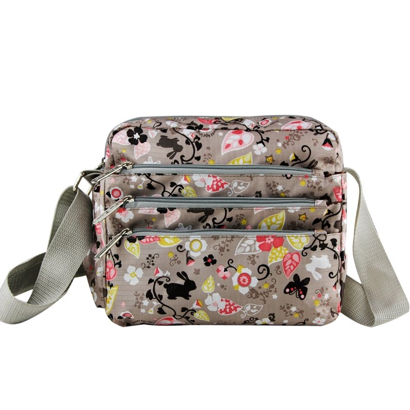 Khaki Brown and Colorful Cute Rabbit Butterfly Abstract Floral Print Messenger Bag Durable Canvas Casual Girls Crossbody Shoulder Bag