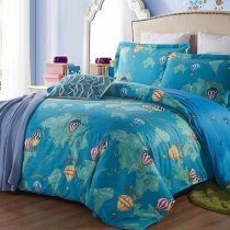 Teal Orange and Green World Map and Hot Air Balloon Travel Style Holiday Themed 100% Cotton Twin, Full Size Bedding Sets
