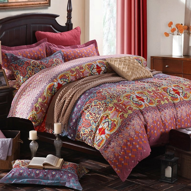 Tuscan Red Brown and Gold Indian Pattern Shabby Chic Arabian Style 100% Brushed Cotton Full, Queen Size Bedding Sets