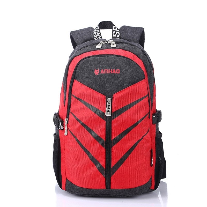 Scarlet Red Black Durable Gorgeous Canvas Junior School Book Bag Mitoshop Korean Style Diagonal Stripes Quilted Travel Backpack