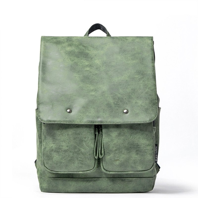 Solid Sea Green Water-proof PU Leather Vintage Stylish Flap School Backpack Sequined Sewing Pattern England Style Casual Travel Bag