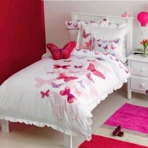 Hot Pink Red and White Beautiful Butterfly Pattern Cute Girly Pastel Style 100% Organic Cotton Twin, Full Size Ruched Bedding Sets