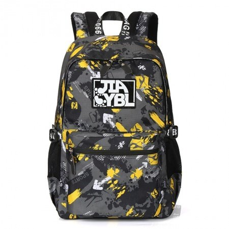 Durable Oxford Trendy Preppy Style Junior School Backpack Black Grey Yellow Stylish Paint Splatter Zipper Casual Travel Bag