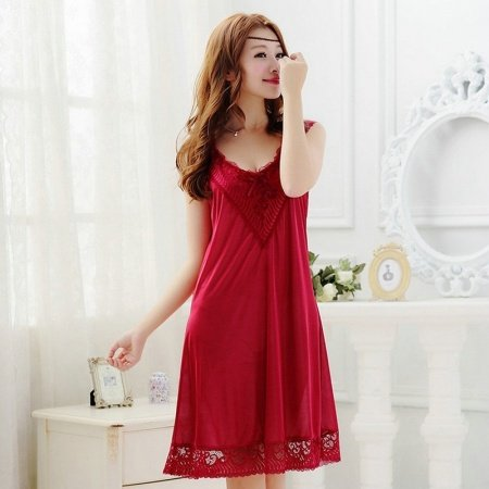 Wine Red Onesies Lace Bud Silk V-neck Gown Condole Belt Sleeveless Summer Free Size Girls Sexy Cheap Chemise Pajamas