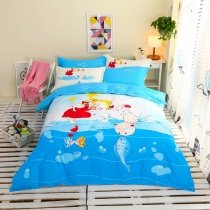 Aqua Blue Red and White Cat Fish Print Little Girls Cute Style Cartoon Themed 100% Cotton Twin, Full Size Bedding Sets
