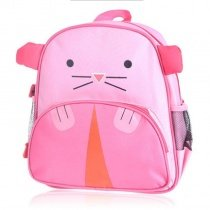 Personalized Animal Mouse Head-shaped Toddler School Backpack Pink Durable Lightweight Nylon Zipper Cute Girls Preppy Book Bag