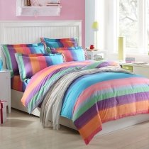 Girls Coral Pink Aqua and Plum Colorful Candy Stripe Print Modern Chic Traditional Cute Style 100% Cotton Twin, Full Size Bedding Sets