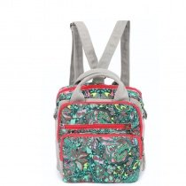 Durable Canvas Colorful Western Floral Print Box-shaped Tote Vintage Bohemian Casual Backpack Stylish Women Crossbody Shoulder Bag