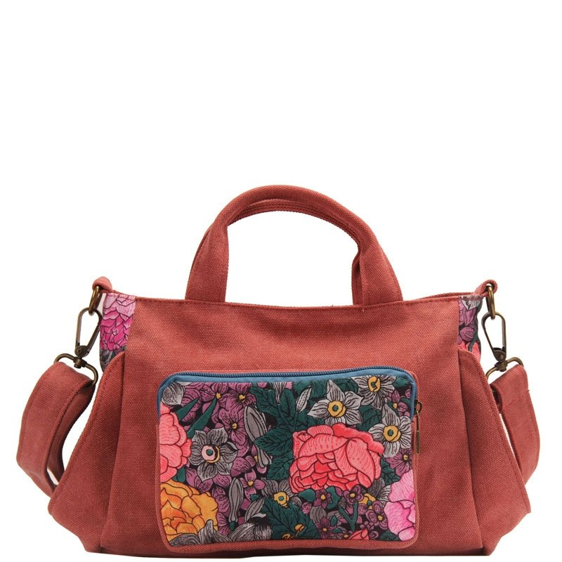 Durable Dark Coral Red Canvas with Colorful Floral Elegant Women Tote Gorgeous Western Style Zipper Casual Small Crossbody Shoulder Bag