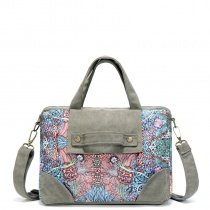 Durable Taupe and Colorful Canvas Trend Women Large Tote Bohemian Rustic Western Floral Print Casual Crossbody Shoulder Handle Bag