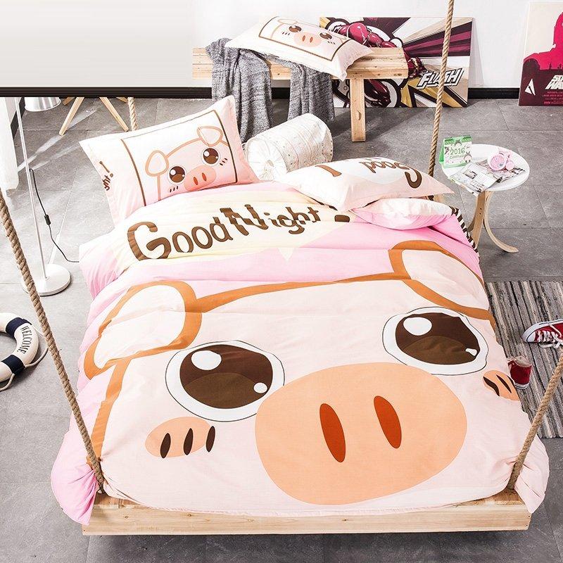 Coffee Cream And Baby Pink Pig Print Farm Animal Cute