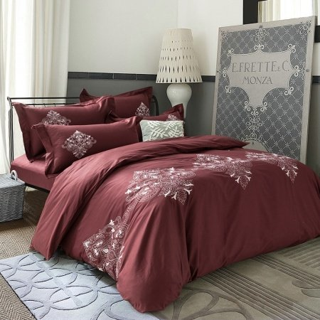 Chocolate and White Retro Indian Pattern Masculine Style Old Fashion Embroidered Design 100% Cotton Full, Queen Size Bedding Sets